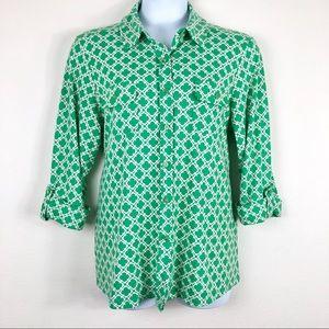 Charter Club Green Quatrefoil 3/4 Sleeve Blouse
